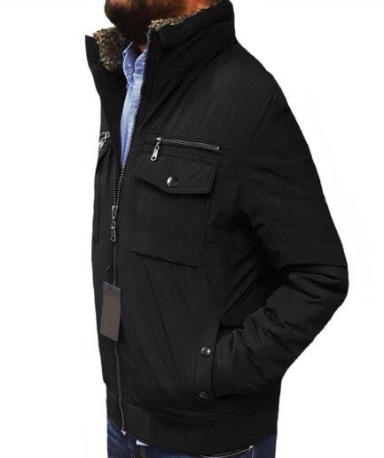 Ανδρικό μπουφάν με γούνα αδιάβροχο